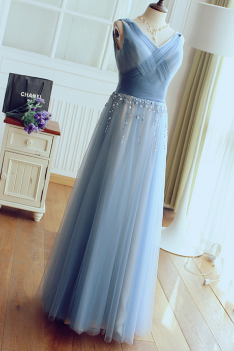A-line Tulle Satin Sequin V-neck Prom Dress,Floor length Prom Dress, Prom Dress,Elegant Party Dress