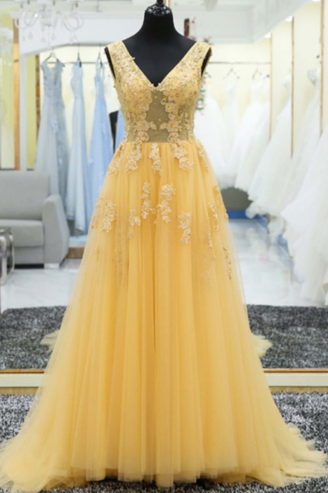 Beautiful Prom Dresses, Yellow Prom Dress , Lace Appliques Prom Dress , Elegant Prom Dress , Long Prom Dress , Soft Tulle Prom Dress , Free Custom Made Prom Dress