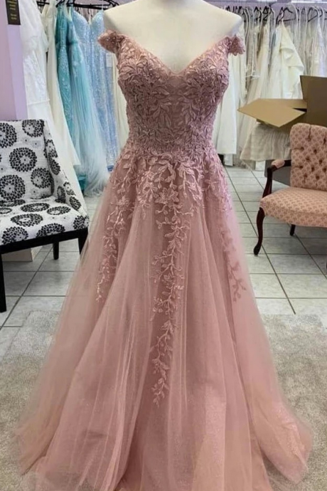 Unique Pink Tulle Off Shoulder Sweetheart Long Formal Prom Dress With Sleeve