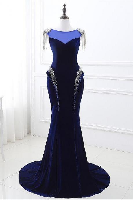 In Stock Fabulous Fleece Bateau Neckline Cap Sleeves Mermaid Evening Dresses With Beadings