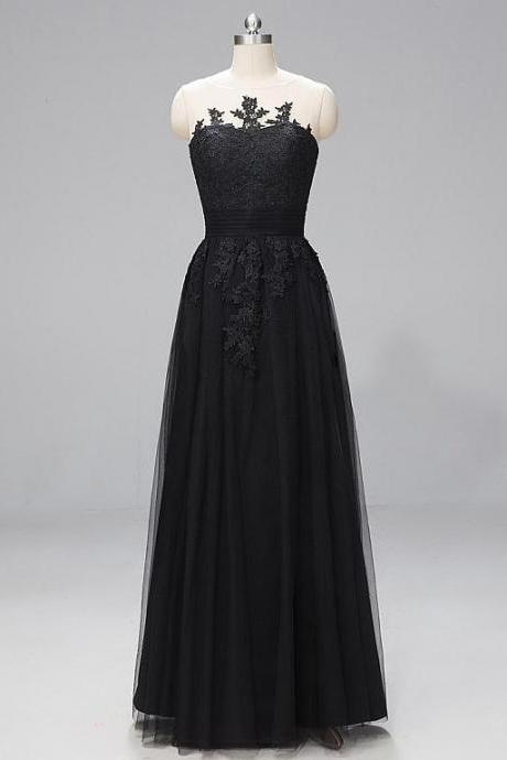 In Stock Stunning Lace & Tulle Bateau Neckline A-line Evening Dresses