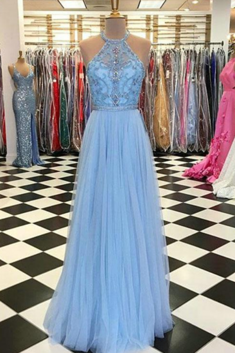 Delicate Light Sky Blue Prom Dress ,Halter Beaded Tulle Ruffles Long Prom Gowns