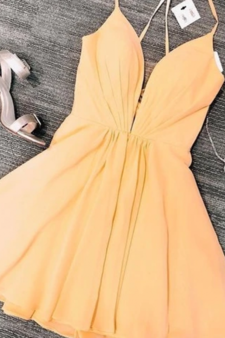 a line cocktail party dresses, yellow short homecoming dresses for teens