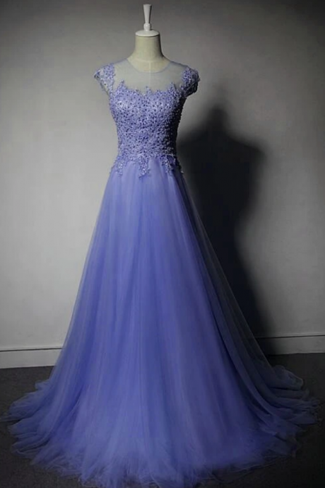 Tulle A-Line Bridesmaid Dress, Lace Applique Prom Dress
