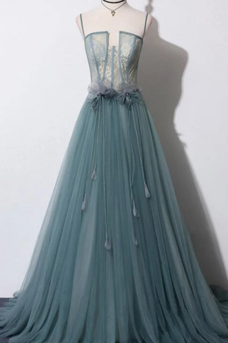 Beautiful Tulle Straps Long With Lace Party Gown, New Prom Dress