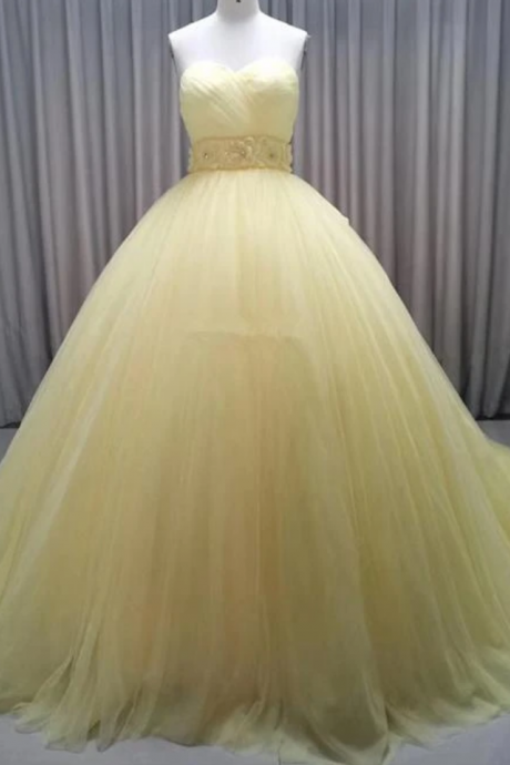 Glam Yellow Sweetheart Flowers Sweet 16 Gown, Yellow Formal Gown