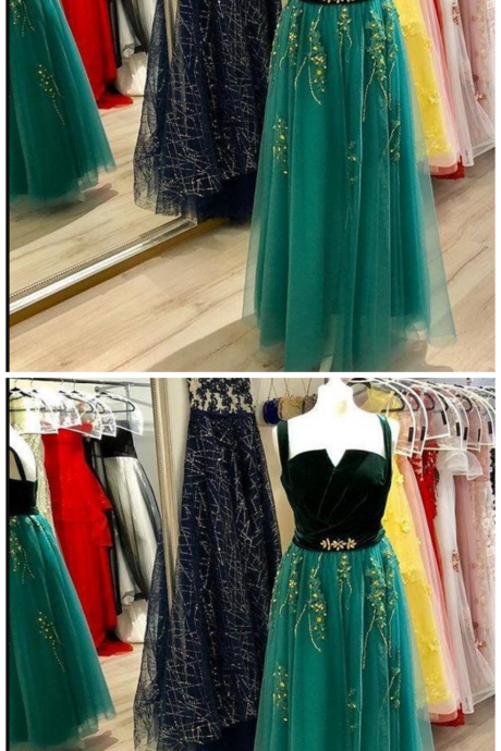 Tulle Prom Dresses, Charming Appliques Formal Dress