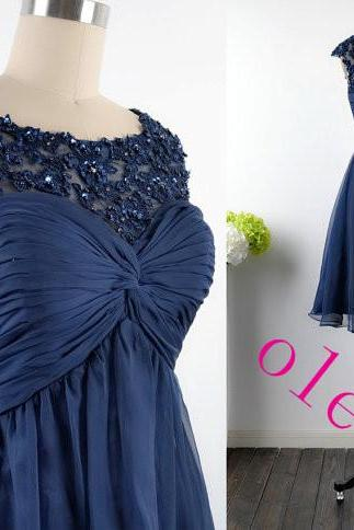 Custom Dark Navy Lace And Chiffon Cocktail Dresses, Straps Short Lace Chiffon Dark Navy Formal Dresses