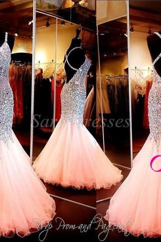 Custom Made Coral Mermaid Prom Dress, V Neckline Open Back Pageant Dress, Evening Gowns With Full Beaded Crystal