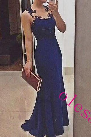 High Quality Satin Blue Long Prom Gown With Lace Applique, Blue Prom Dresses, Blue Evening Dresses, Formal Dresses