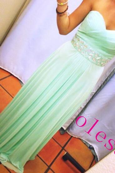 Custom-Made Mint Green Pretty Long Prom Dresses Prom Gown 2016 Prom Dresses Evening Dresses Formal Dresses