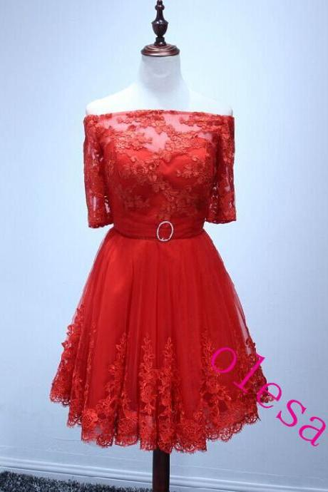 Homecoming Dress Half Sleeve Red Lace Short Homecoming Dress Short Prom Dress TULLE Cheap Prom Dress Party Prom Dress Junior Prom Dress
