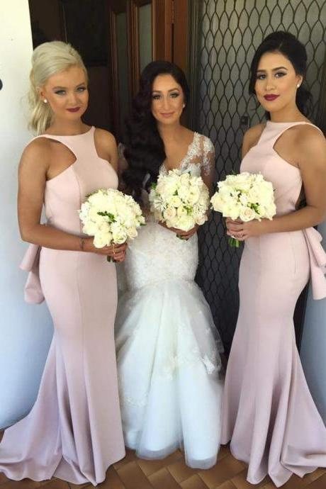 Backless Bridesmaid Dress, Long Bridesmaid Dress, Pink Bridesmaid Dress, Mermaid Bridesmaid Dress, Wedding Party Dresses, Satin Bridesmaid Dress, Formal Party Dress