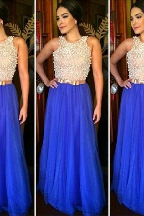 Luxury Royal Blue Prom Dress, Long Prom Dress, Beaded Peal Prom Dresses, A Line Tulle Prom Gowns, Elegant Prom Dress
