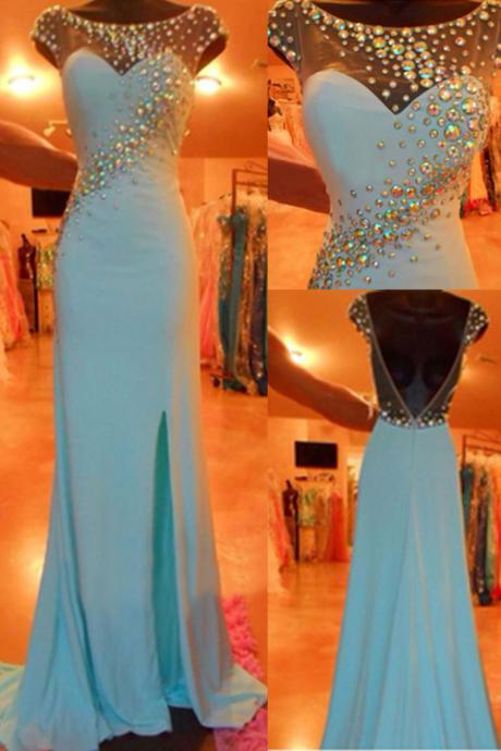 Charming Prom Dress Chiffon Prom Dress,Mermaid Prom Dress O-Neck Prom Dress Beading Prom Dress