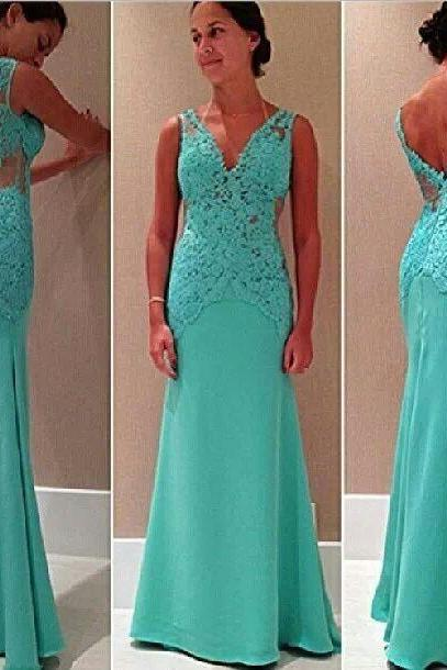 Charming Prom Dress Lace Mermaid Prom Dress V-Neck evening Dress Chiffon party Dress