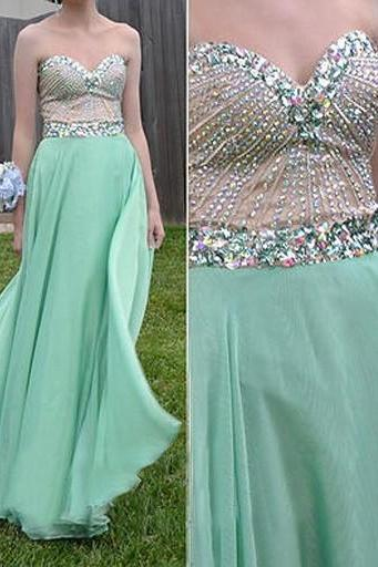 Charming Chiffon party Dress Chiffon Prom Dress A-Line party dresses Sweetheart Beading evening Dress