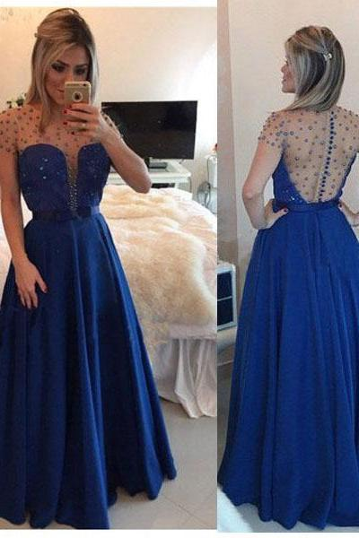 Charming Prom Dress Chiffon EVENING Dress Beading PARTY Dress O-Neck Prom Dress A-Line Prom Dress