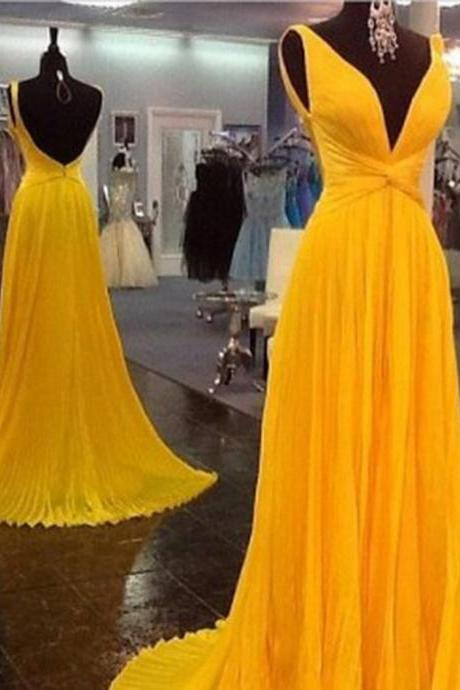 High Quality Prom Dress V Neck Chiffon Prom Dress Pleat EVENING Dress Backless PARTY Dress V-Neck Prom Dress