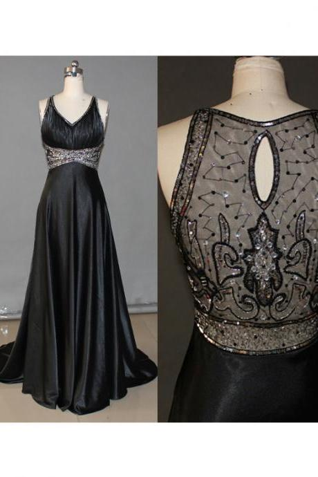 High Quality Prom Dress Satin PARTY Dress A-Line Prom Dress Beading HOMECOMING Dress V-Neck EVENING Dress