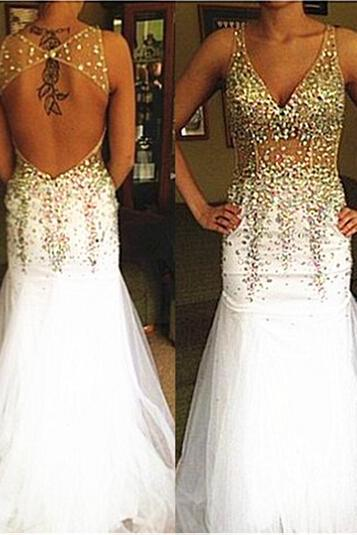 High Quality PARTY Dress Mermaid Prom Dress Beading EVENING Dress Backless Prom Dress V-Neck Prom Dress