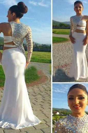 Quality Prom Dress One-Shoulder EVENING Dress Beading Prom Dress Chiffon Prom Dress Charming Prom Dress