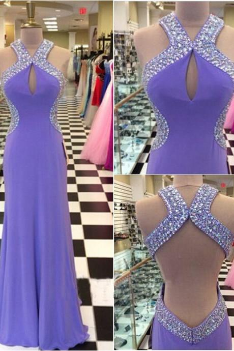 High Quality Prom Dress A-Line Prom Dress Halter Prom Dress Backless Prom Dress Sexy Beading Prom Dress