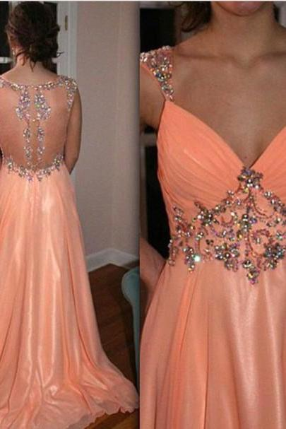 High Quality EVENING Dress A-Line PARTY Dress V-Neck Prom Dress Chiffon Prom Dress Long Beading Prom Dress