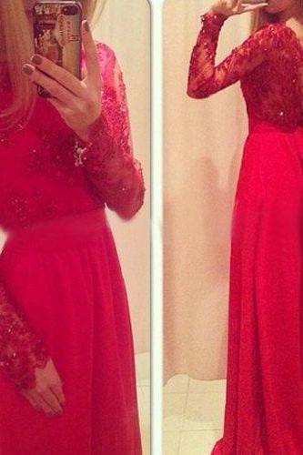 High Quality EVENING Dress Charming PARTY Dress Long Sleeve Prom Dress Lace Prom Dress A-Line Prom Dress