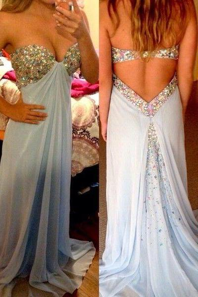 Charming Prom Dress Sweetheart Prom Dress A-Line evening Dress Sequined Prom Dress Chiffon Prom Dress