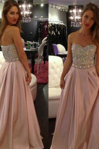 Charming Prom Dress Sequined EVENING Dress A-Line Prom Dress Strapless PARTY Dress Chiffon Prom Dress