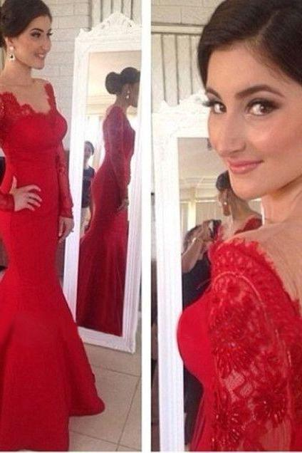 Fashin EVENING Dress Long Sleeve Prom Dress REDLace Prom Dress V-Neck Prom Dress Sexy Backless Prom Dress