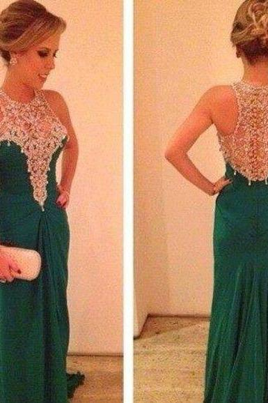 Charming EVENING Dress Beading PARTY Dress Mermaid Prom Dress Chiffon HOMECOMING Dress Handmade Prom Dress