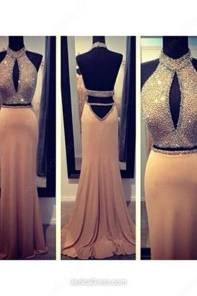 Sexy EVENING Dress Beading PARTY Dress Halter Prom Dress Mermaid Prom Dress Backless Prom Dress