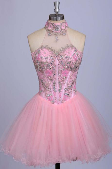 A-Line Homecoming Dresses,Beaded Homecoming Dresses, Pink Homecoming Dresses,Tulle Homecoming Dresses