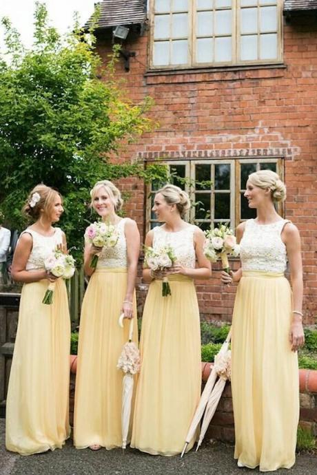 Sleeveless Lace Top Lemon Yellow Chiffon Bridesmaid Dresses Long Floor Length Custom Made