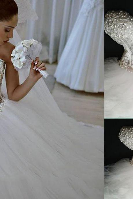 Luxurous Wedding Dress,Sweetheart Wedding Dress,Sexy Wedding Dress,Crystal And Pearl Wedding Dress,Empire Wedding Dress,Floor Length Wedding Dress,Hot Sale Wedding Dress