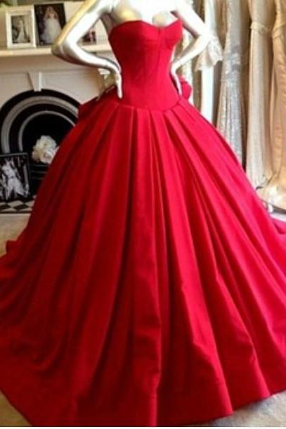 Evening Dresses,Red Evening Dresses,Classic Prom Dress, Ball Gown,Floor Length Evening Dress,Princess Evening Dress,Beautiful Evening Dress,Satin Evening Dress,Prom Dress