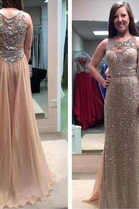 Long Prom Dress, Sparkle Prom Dress, Champagne Prom Dress, Charming Prom Dress, Prom Dress 2016, Glittery Prom Dress