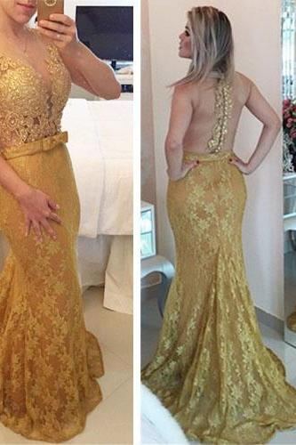 Long Prom Dress, Gold Prom Dress, Lace Prom Dress, Backless Prom Dress, Mermaid Prom Dress, Evening Dress, Sexy Prom Dress