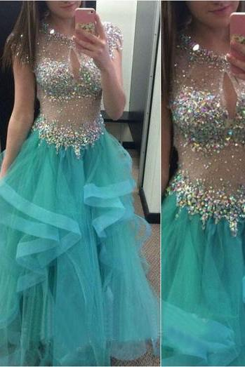 Long Prom Dress, Blue Prom Dress, Sparkle Prom Dress, Party Prom Dress, Charming Prom Dress, O-Neck Prom Dress, Tulle Evening Dress Gown