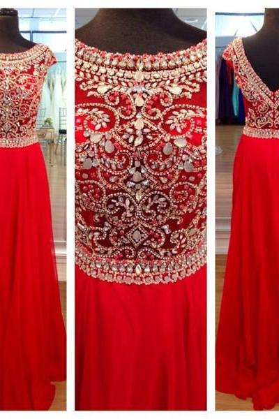 Red Prom Dresse Long Prom Dresses, Chiffon Prom Dresses, Beade Prom Dresses Cap Sleeve Prom Dresses Prom Gowns