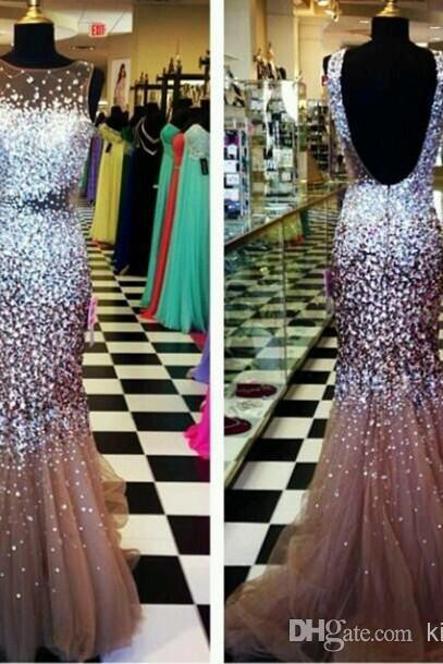 Exquisite Prom Dresses Sheer Bateau Neck Glitter Crystal Beaded Mermaid Backless Floor Length Tulle Exclusive Evening Gowns