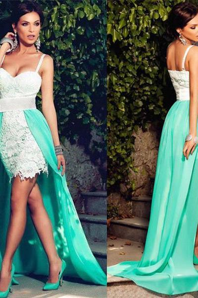 Spagetti Straps Sweetheart White Short Lace Dress With Green Detachable Over Skirt Hi-Lo Dress