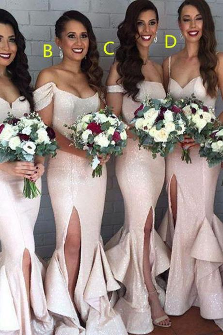 Charming Sequing Shiny Long Mermaid Front Split Bridesmaid Dresses,Prom Dresses