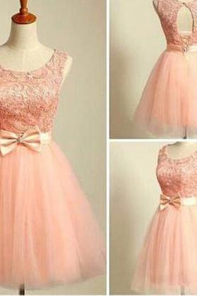 Blush Pink Beaded Cocktail Dresses,Lace Homecoming Dresses,Open Back Party Dresses, Neat Bow Waist-tie Short Prom Dresses On Sale