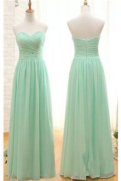 Cheap Simple Long Bridesmaid Dresses,Mint Sweetheart Open Back Bridesmaids Dresses On Saleresses