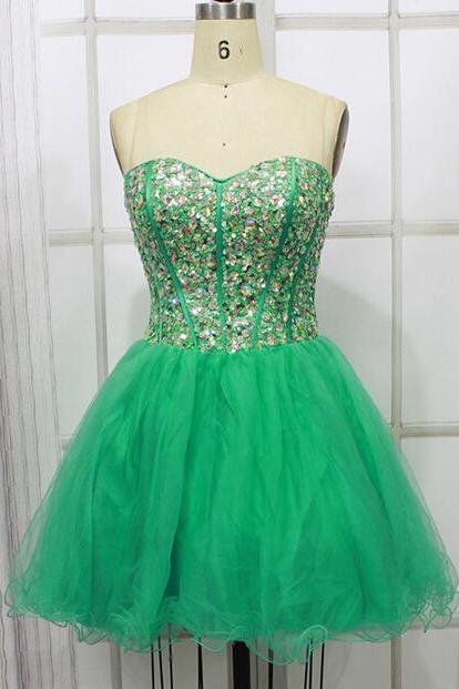 Real Made Green Beading Homecoming Dresses ,Sweetheart Graduation Dresses,Homecoming Dress,Short/Mini Homecoming Dress On Sale
