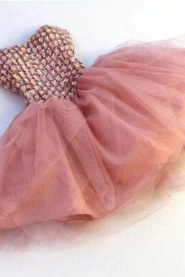 Beading Short Prom Dresses, Charming Prom Dresses, Short Evening Dresses,Prom Dresses,Back Up Lace Prom Dresses