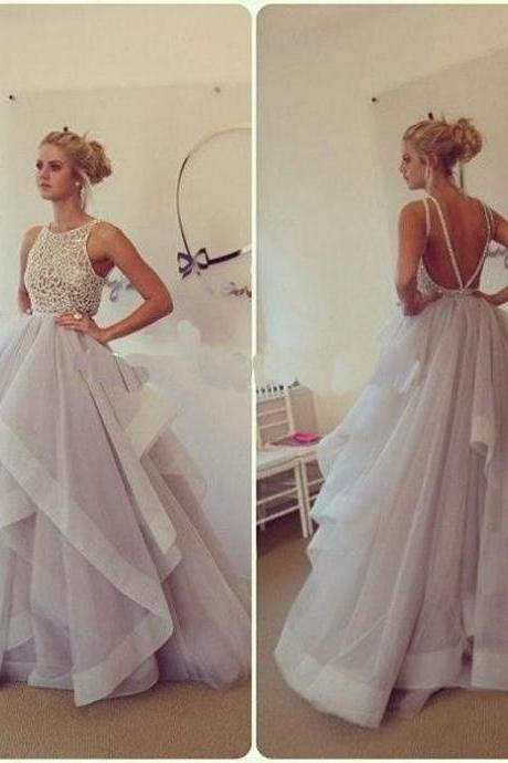 Hot Selling Beading Long Quinceanera Dresses Ball Gown,Charming Backless Evening Prom Gowns,Lace Sleeveless A-line Open Back Prom Dresses